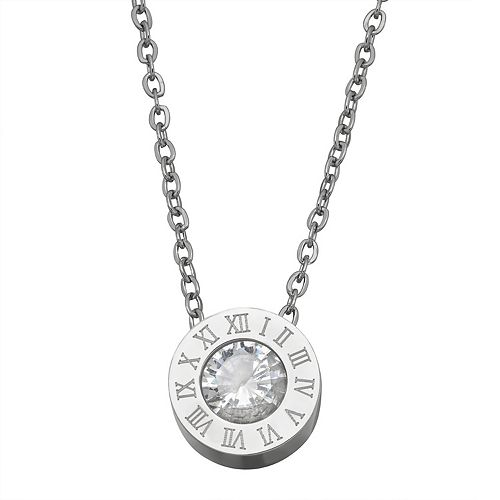 Stella Di Femmex Stainless Steel Roman Numeral Crystal Pendant Necklace
