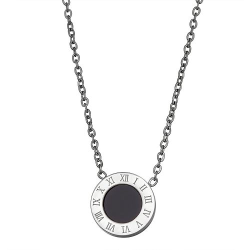 Stella Di Femmex Stainless Steel Roman Numeral Enamel Pendant Necklace