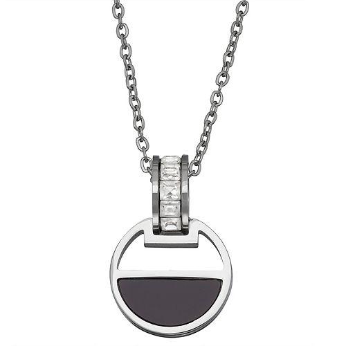 Stella Di Femmex Stainless Steel Cubic Zirconia Half Circle Pendant Necklace