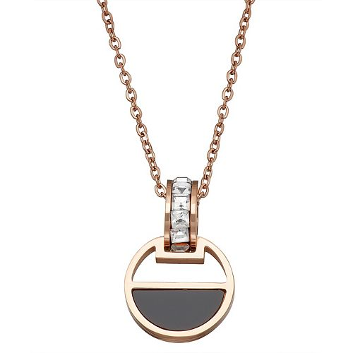 Stella Di Femmex 14k Gold over Stainless Steel Cubic Zirconia Half Circle Pendant Necklace