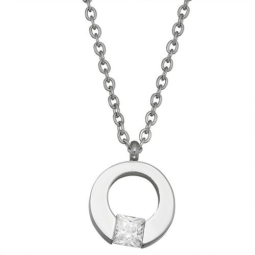 Stella Di Femmex Stainless Steel Open Circle Cubic Zirconia Necklace