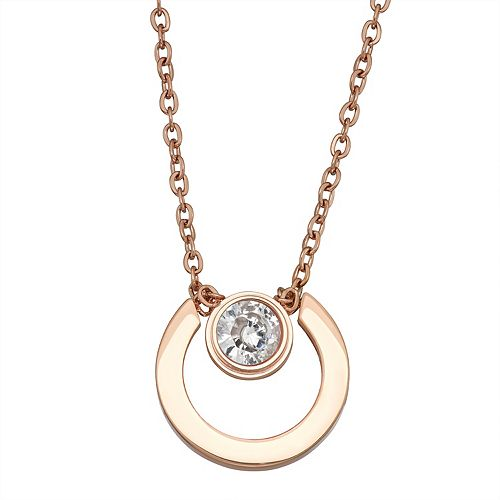 Stella Di Femmex 14k Gold over Stainless Steel Cubic Zirconia Open Circle Necklace