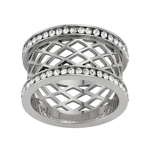 Stella Di Femmex Stainless Steel Crystal Wide Band Ring