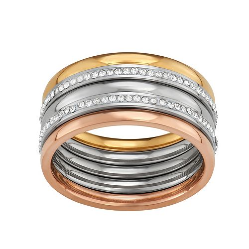 Stella Di Femmex Stainless Steel Tri-Tone Crystal Stacking Ring Set