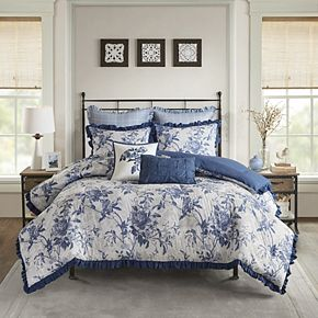 Madison Park Adoette Cotton Printed Ruffle Comforter Set