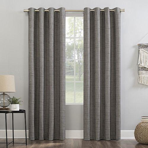 Sun Zero Kline Burlap Weave Thermal Extreme 100% Blackout Grommet Window Curtain