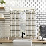 Clean Window Twill Stripe Anti-Dust Semi-Sheer Kitchen Curtain Tier Pair