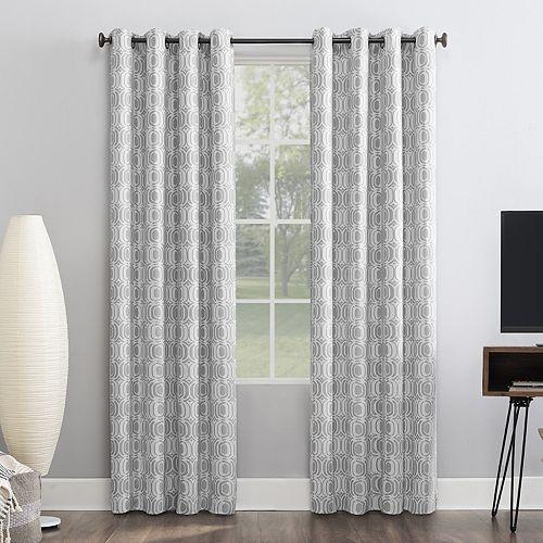 Sun Zero 1-panel Infinity Geometric Theater Grade Extreme 100% Blackout Grommet Window Curtain
