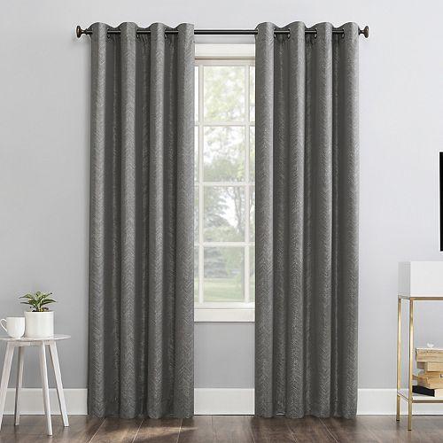 Sun Zero 1-panel Peyton Distressed Chevron Thermal Extreme 100% Blackout Grommet Window Curtain