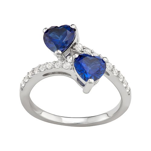 Sterling Silver Lab-Created Sapphire Ring