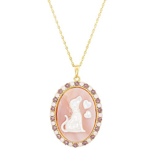 18k Gold Over Silver Mother-of-Pearl & Crystal Dog Pendant Necklace