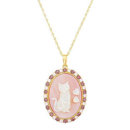 18k Gold Over Silver Mother-of-Pearl & Crystal Cat Pendant Necklace
