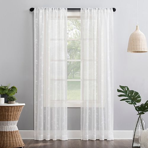No 918 Delia Embroidered Floral Sheer Rod Pocket Window Curtain