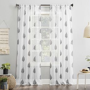 No 918 Fern Embroidered Botanical Sheer Rod Pocket Window Curtain