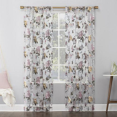 No 918 Garden Floral Burnout Semi-Sheer Rod Pocket Window Curtain