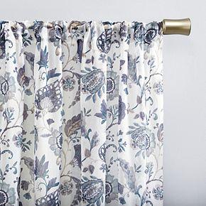 No 918 Sarita Floral Print Sheer Rod Pocket Window Curtain