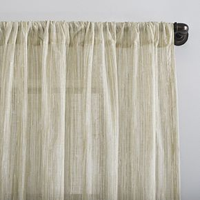 Archaeo Bamboo Stripe Sheer Rod Pocket Window Curtain