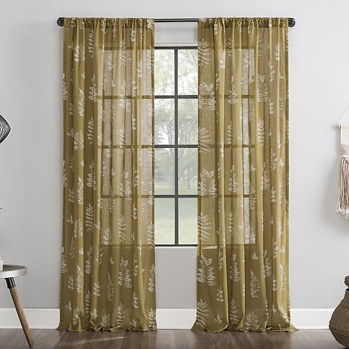 Archaeo Fossilized Floral Semi-Sheer Rod Pocket Window Curtain