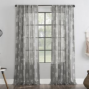 Archaeo Laurel Fossilized Floral Semi-Sheer Rod Pocket Window Curtain