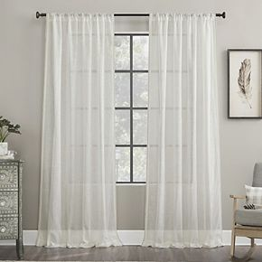 Archaeo Toby Embroidered Border Cotton Blend Sheer Rod Pocket Window Curtain