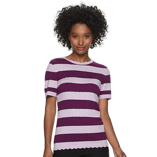 Women's ELLE™ Striped Short Sleeve Top