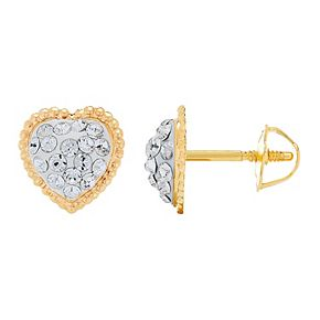 14K Gold Heart Button Stud Earrings with Swarovski Crystal