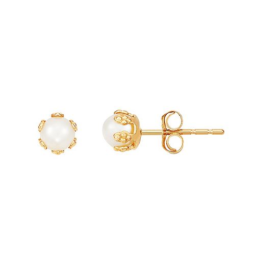 14K Gold Cultured Freshwater Pearl Button Earrings