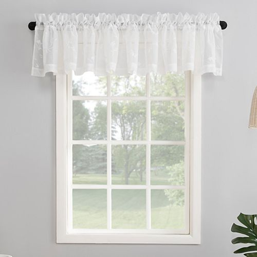 No 918 Delia Embroidered Floral Sheer Rod Pocket Curtain Valance