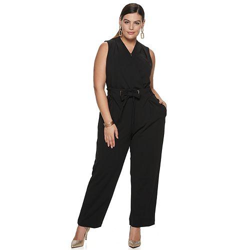 Plus Size EVRI Belted Jumpsuit