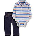 Baby Boy Carter's 2-Piece Striped Polo Bodysuit & Pant Set