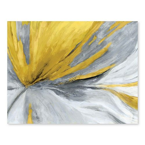 Artissimo Designs Traced Yellow Cool Gray Wall Art