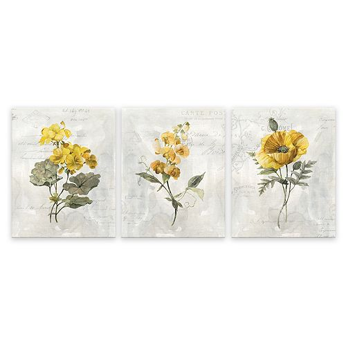 Artissimo Designs Canary Linen Geranium Wall Art - Set of 3