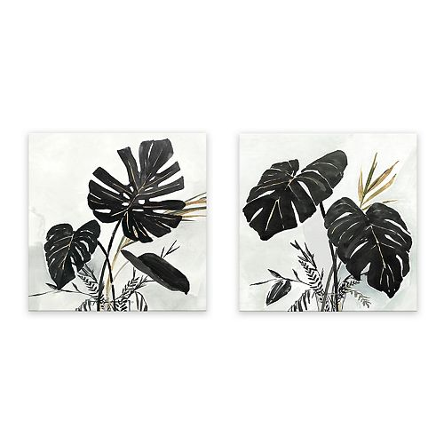 Artissimo Designs Black Monstera Wall Art - Set of 2