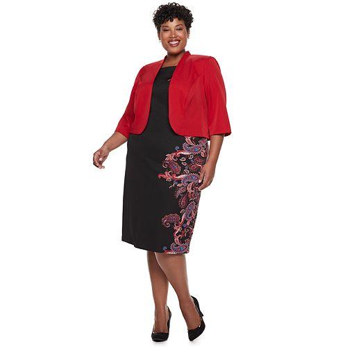 Plus Size Maya Brooke Paisley Side Print Jacket Dress