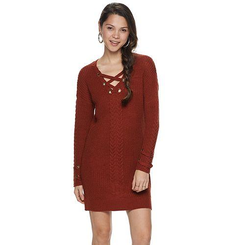 Juniors Rewind Lace-Up Sweater Dress