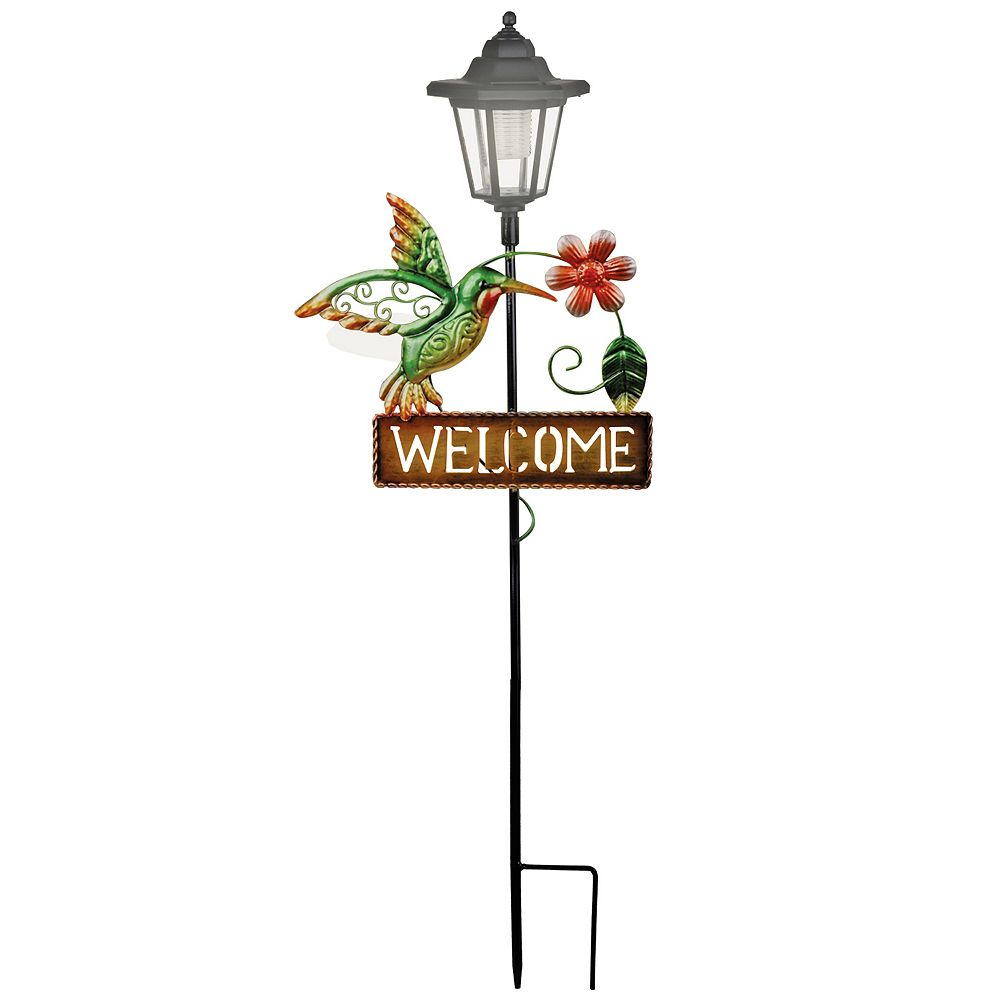 Crosslight Solar Metal Hummingbird Welcome Sign