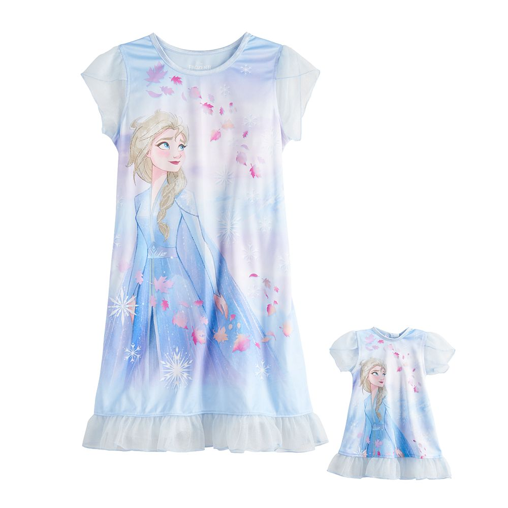 Girls 4-8 Disney's Frozen 2 Elsa Dorm Nightgown & Matching Doll Nightgown Set