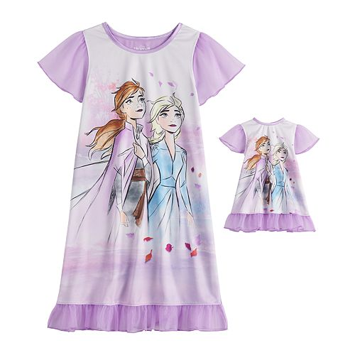 Girls 4-8 Disney's Frozen 2 Anna & Elsa Dorm Nightgown & Matching Doll Nightgown Set