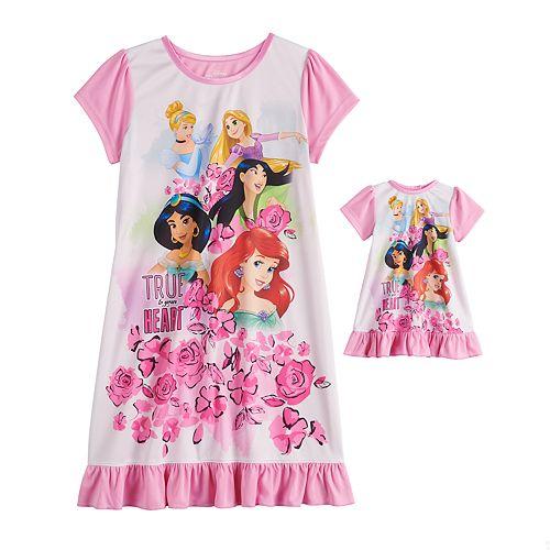 Girls 4-8 Disney Princesses Dorm Nightgown & Matching Doll Nightgown Set
