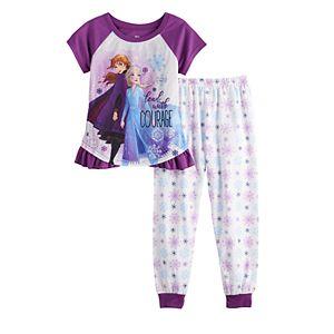 Girls 4-8 Disney's Frozen 2 Anna & Elsa Top & Bottom Pajama Set