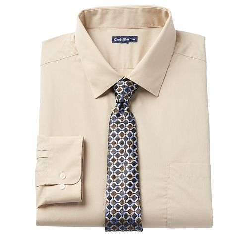 Big & Tall Croft & Barrow® Stretch Collar Dress Shirt and Patterned Tie Boxed Set