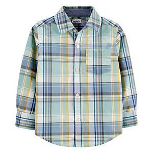 Toddler Boy Carter's Plaid Poplin Button-Front Shirt