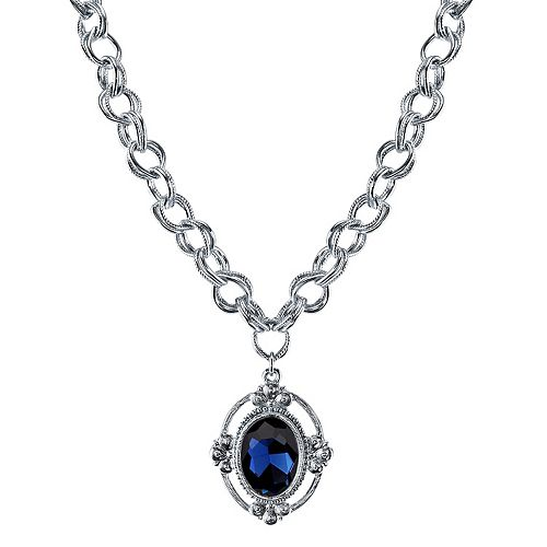 1928 Blue Faceted Oval Pendant Necklace