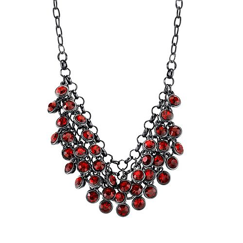 1928 Red Cluster Bib Necklace