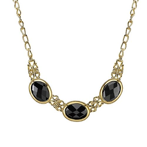 1928 Black Faceted Collar Necklace