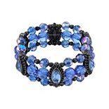 1928 Blue and Black Beaded Stretch Bracelet