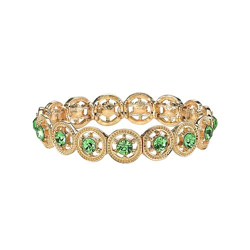 1928 Gold Tone Green Simulated Crystal Stretch Bracelet