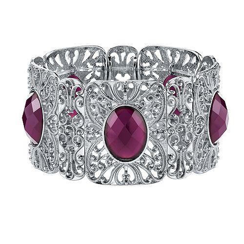 1928 Silver Tone Purple Faceted Filigree Stretch Bracelet