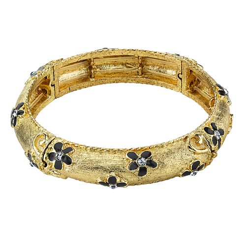 1928 Gold Tone Flower & Crystal Accent Stretch Bracelet