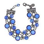1928 Sapphire Blue Black Tone Chain Link Bracelet